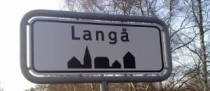 Foto af Langå byskilt